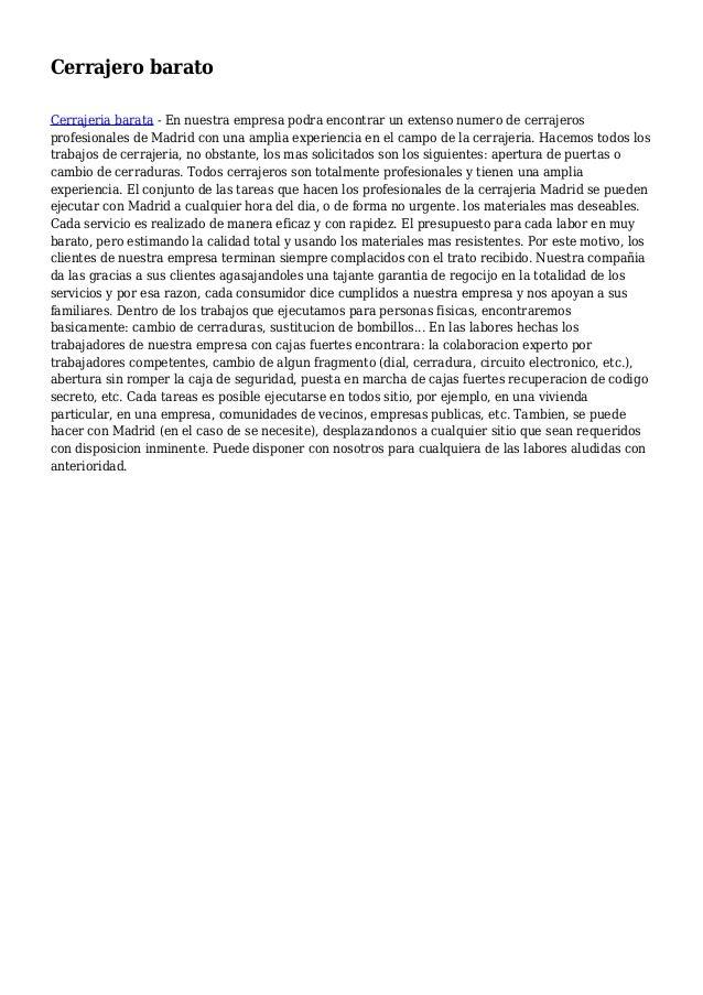 Cerrajero barato Cerrajeria barata - En nuestra empresa podra encontrar un extenso numero de cerrajeros profesionales de M...