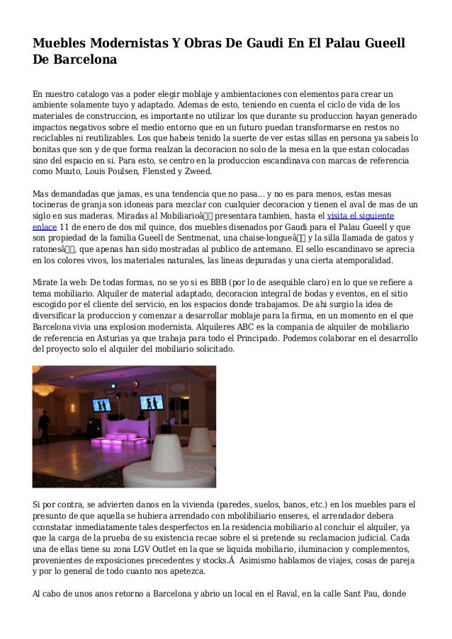 Muebles modernistas y obras de gaudi en el palau gueell de for Muebles modernistas
