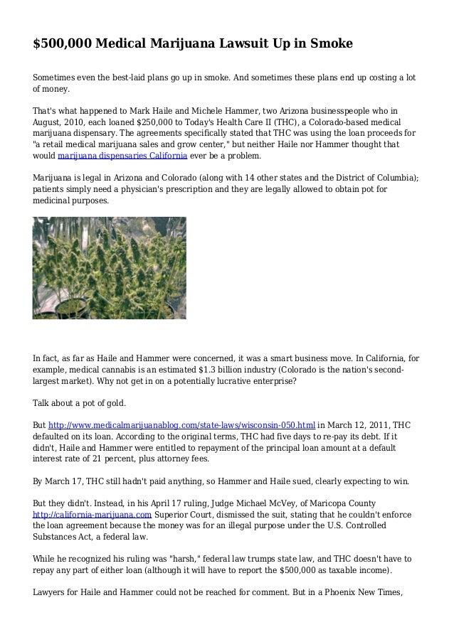 $500,000 Medical Marijuana Lawsuit Up in Smoke
