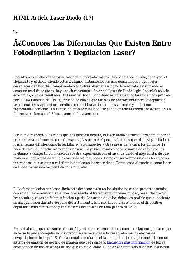 HTML Article Laser Diodo (17)  ¿Conoces Las Diferencias Que Existen Entre Fotodepilacion Y Depilacion Laser? Encontrar...