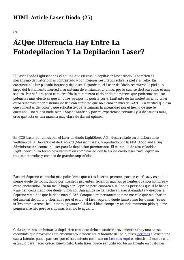 HTML Article Laser Diodo (25)  ¿Que Diferencia Hay Entre La Fotodepilacion Y La Depilacion Laser? El Laser Diodo Light...
