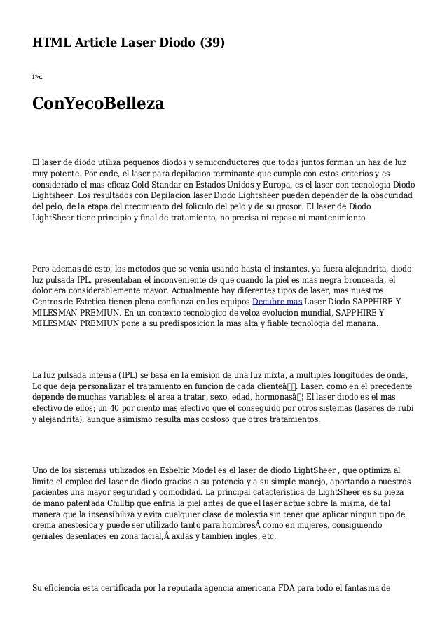 HTML Article Laser Diodo (39)  ConYecoBelleza El laser de diodo utiliza pequenos diodos y semiconductores que todos jun...