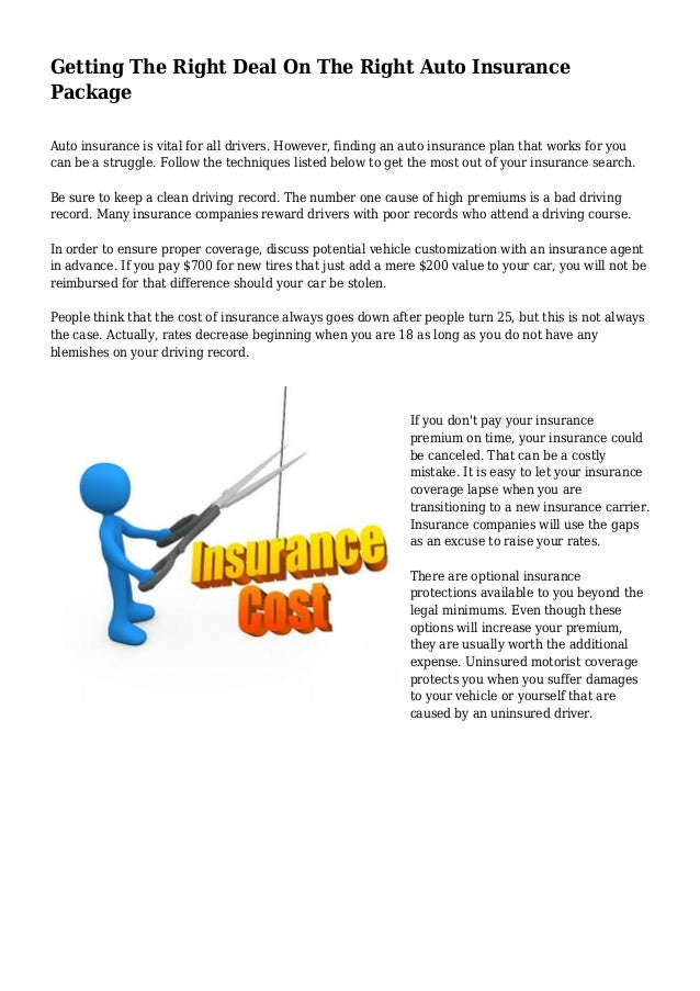 Getting The Right Deal On The Right Auto Insurance Package