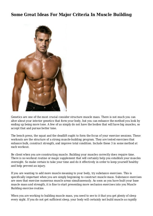 Some Great Ideas For Major Criteria In Muscle Building