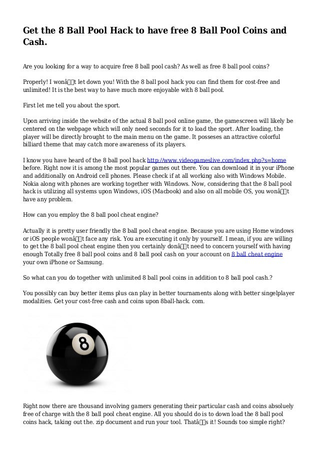 Get the 8 Ball Pool Hack to have free 8 Ball Pool Coins and Cash