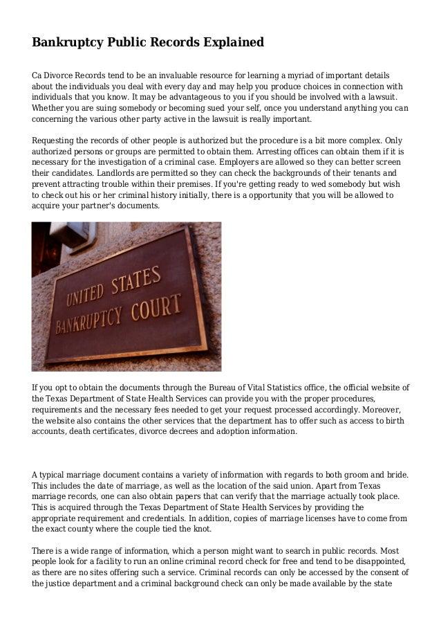 Bankruptcy Public Records Explained