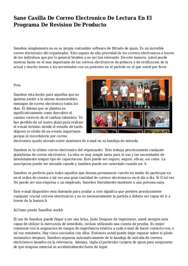 Sane Casilla De Correo Electronico De Lectura En El Programa De Revision De Producto Sanebox simplemente no es su propia c...