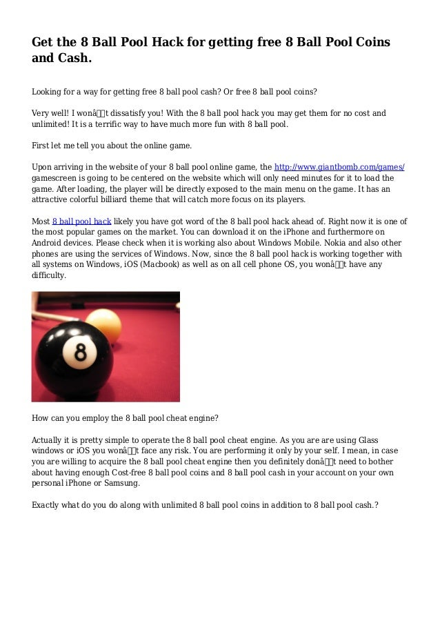 Get the 8 Ball Pool Hack for getting free 8 Ball Pool Coins and Cash
