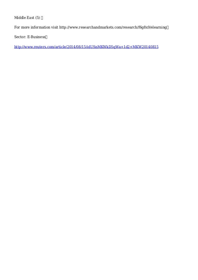Global e-Learning Report 2014-2020 - Strategic Business Report | Reuters Slide 3
