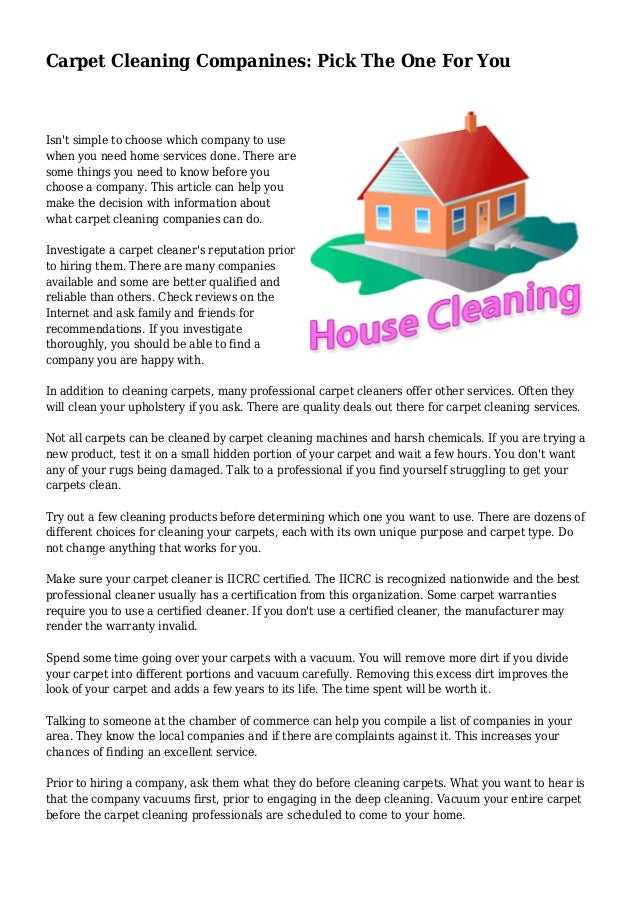 Carpet Cleaning Companines Pick The One For You