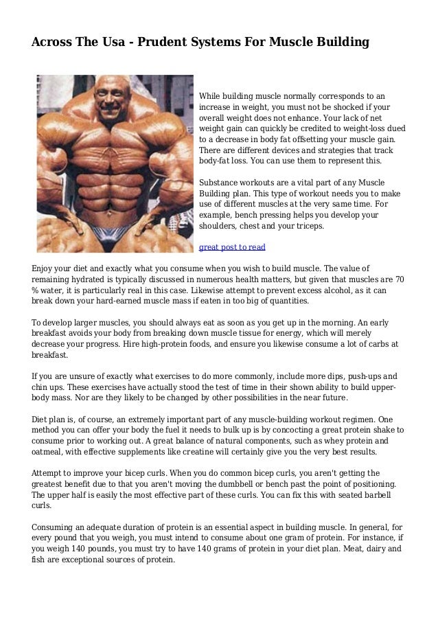 Across The Usa Prudent Systems For Muscle Building