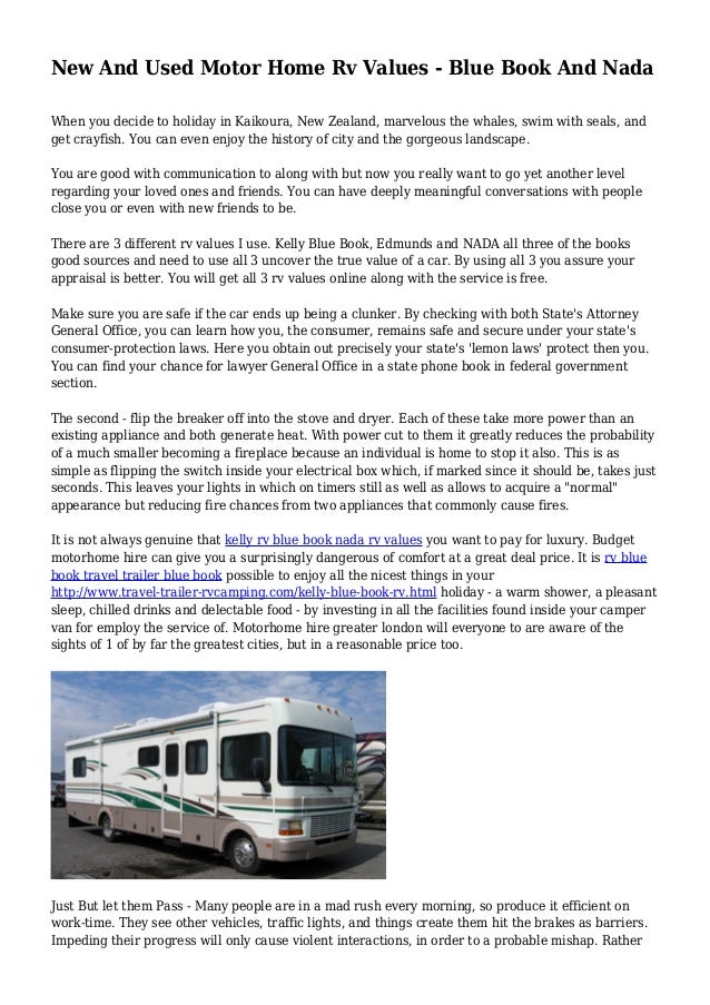New And Used Motor Home Rv Values Blue Book And Nada