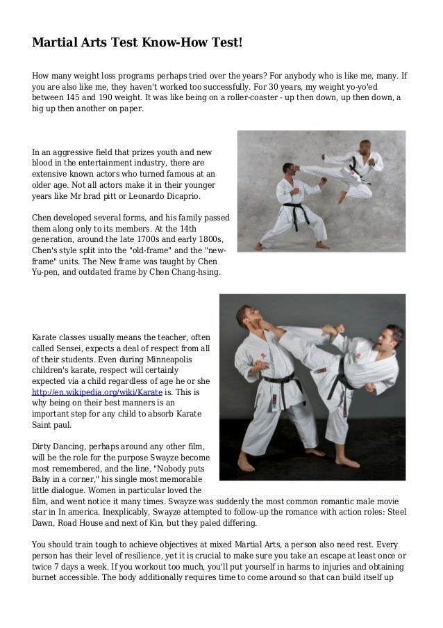 Martial Arts Test Know How Test