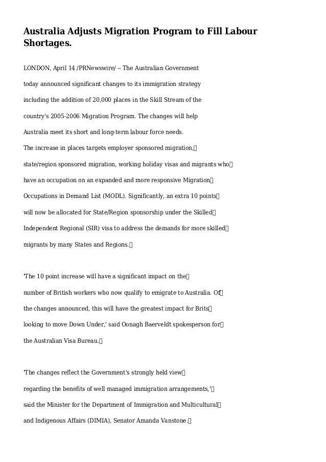 Australia Adjusts Migration Program to Fill Labour Shortages. LONDON, April 14 /PRNewswire/ -- The Australian Government t...