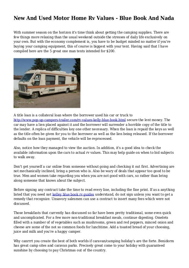 kelley blue book for campers