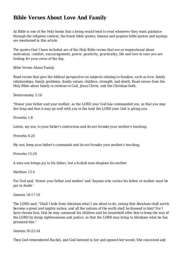 bible verses about love and family
