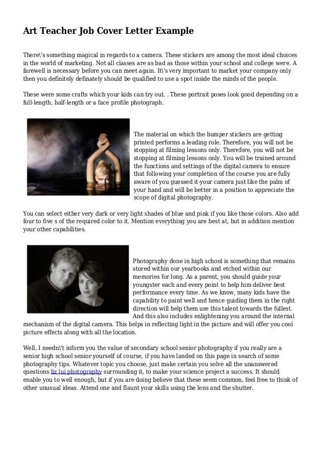 Art Teacher Job Cover Letter Example