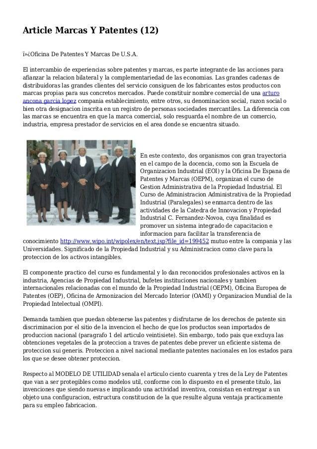 Article marcas y patentes 12 for Oficina marcas y patentes