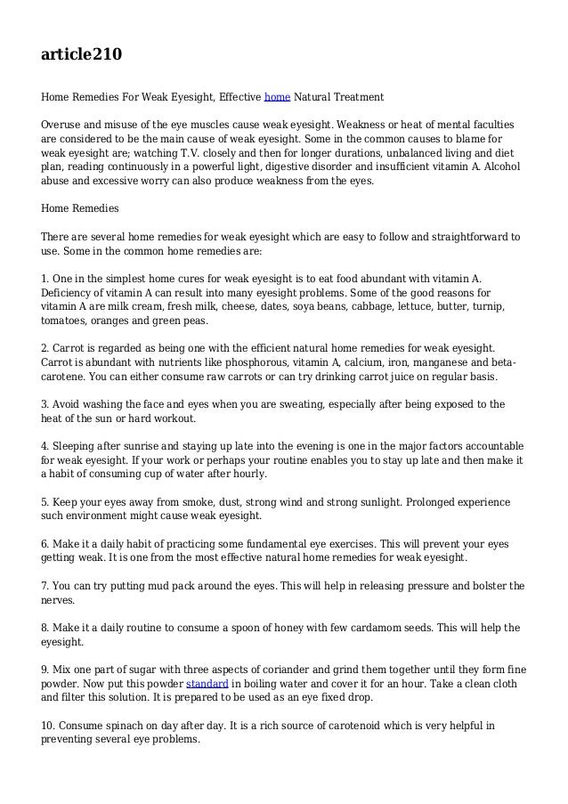 article210 Home Remedies For Weak Eyesight, Effective home Natural Treatment Overuse and misuse of the eye muscles cause w...