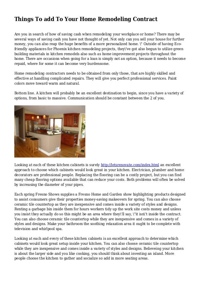 Home Remodeling Contract | Things To Add To Your Home Remodeling Contract