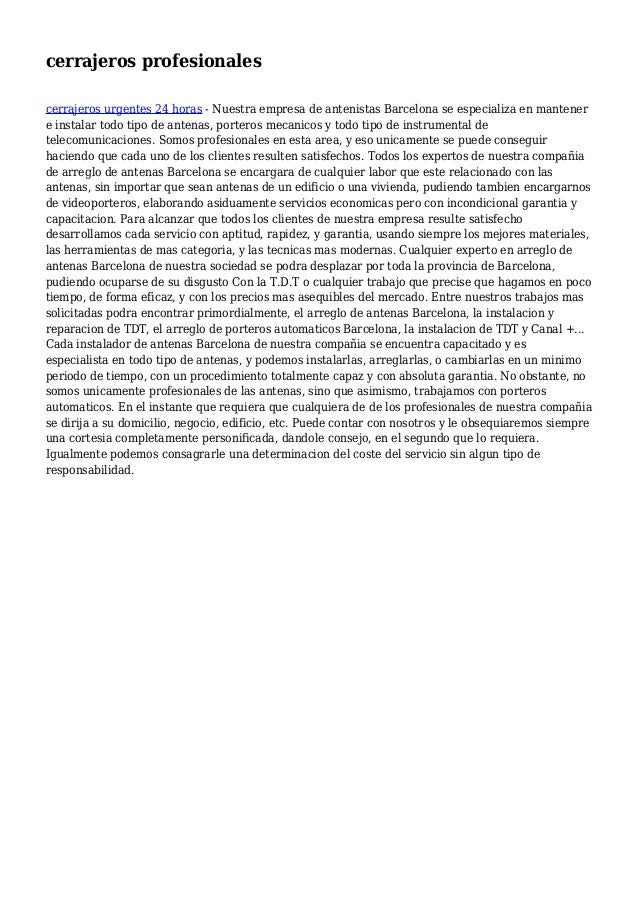 cerrajeros profesionales cerrajeros urgentes 24 horas - Nuestra empresa de antenistas Barcelona se especializa en mantener...