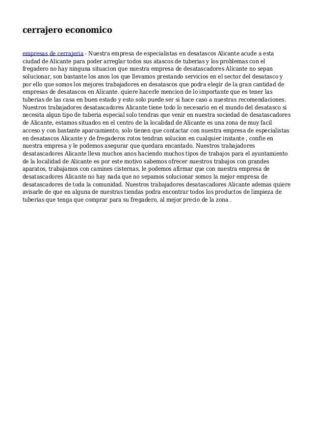 cerrajero economico empresas de cerrajeria - Nuestra empresa de especialistas en desatascos Alicante acude a esta ciudad d...