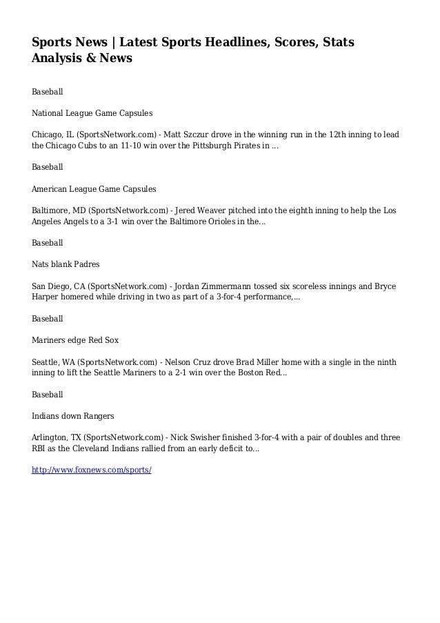 Sports News Latest Sports Headlines Scores Statsysis News Baseball National League