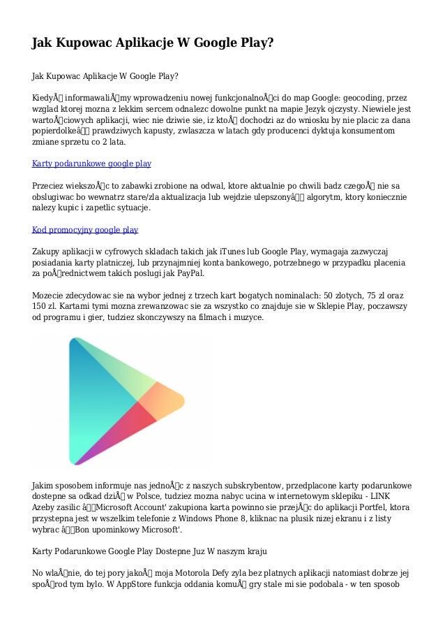 Jak Kupowac Aplikacje W Google Play