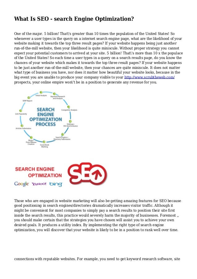 What Is SEO - search Engine Optimization? One of the major. 5 billion! That's greater than 10 times the population of the ...