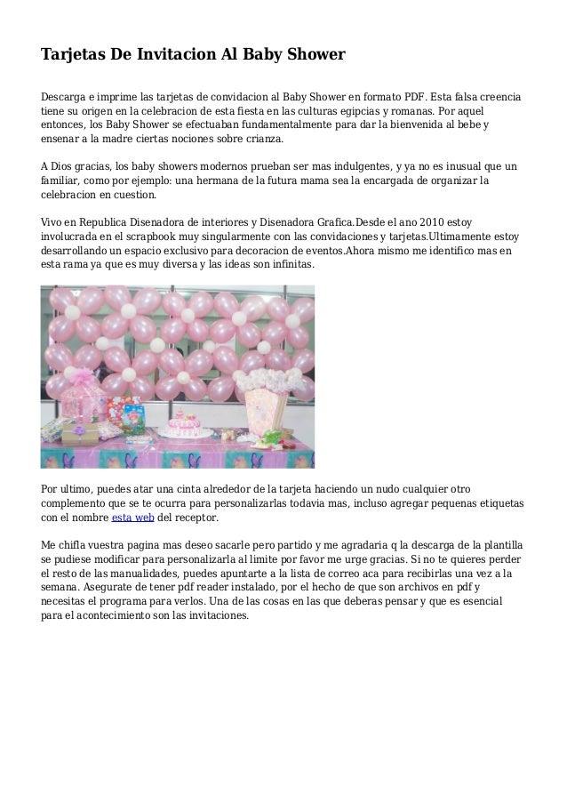 Tarjetas De Invitacion Al Baby Shower