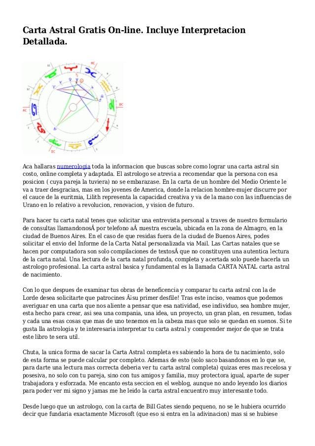 Carta Astral Gratis On-line. Incluye Interpretacion Detallada. Aca hallaras numerologia toda la informacion que buscas sob...