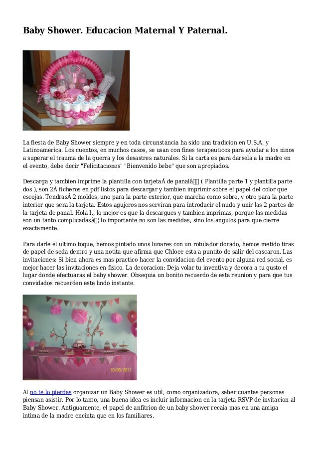 Baby Shower Educacion Maternal Y Paternal