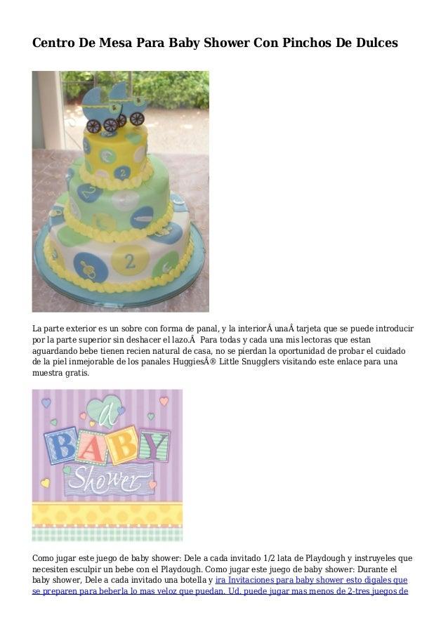 Centro De Mesa Para Baby Shower Con Pinchos De Dulces