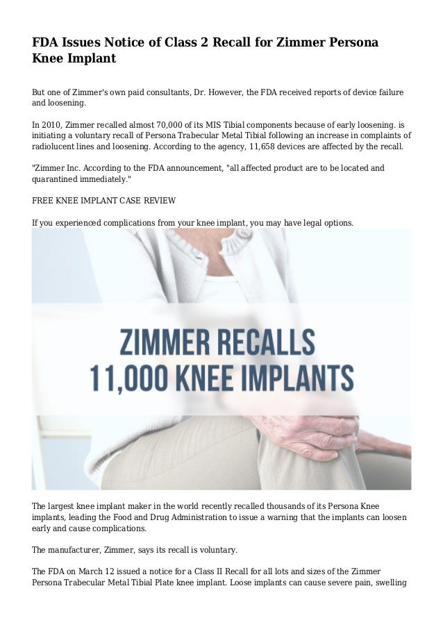 FDA Issues Notice of Class 2 Recall for Zimmer Persona Knee