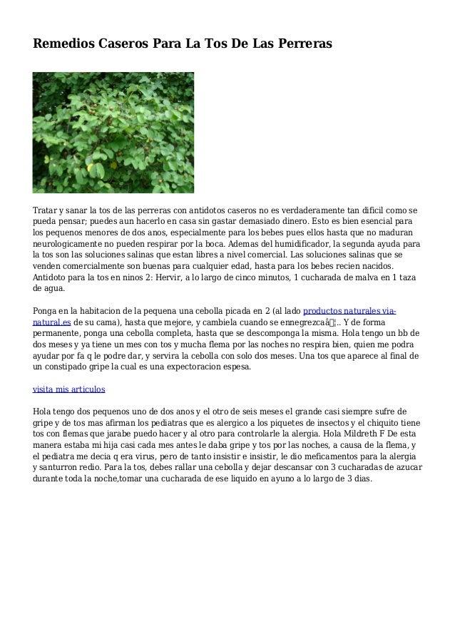 Remedios Caseros Para La Tos De Las Perreras Tratar y sanar la tos de las perreras con antidotos caseros no es verdaderame...