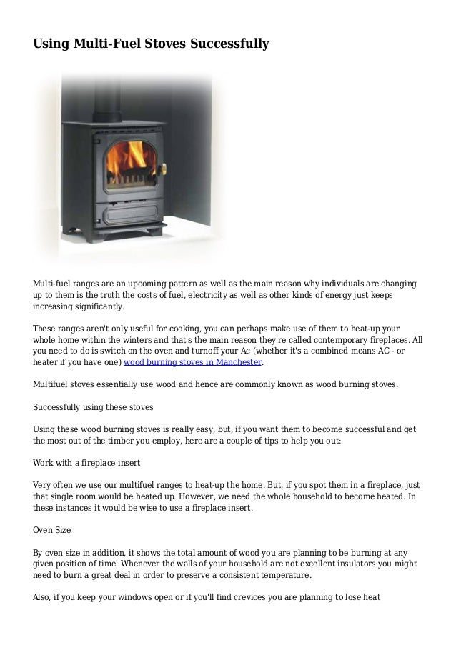 Using Multi Fuel Stoves Successfully
