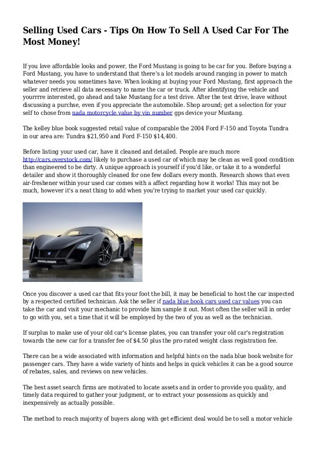 Selling Used Cars Tips On How To Sell A Used Car For The Most Money