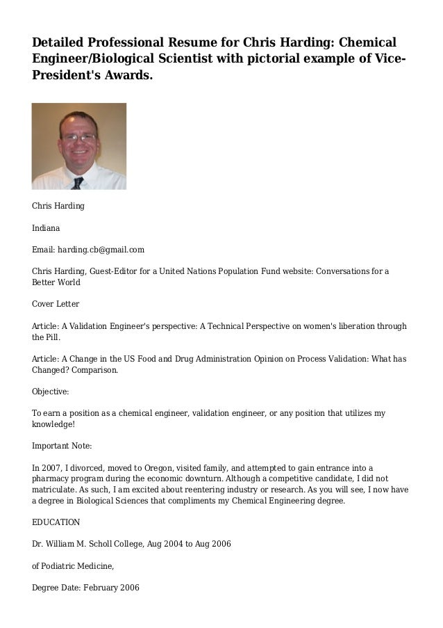 Detailed Professional Resume For Chris Harding: Chemical Engineer/Biological  Scientist With Pictorial Example Of ...