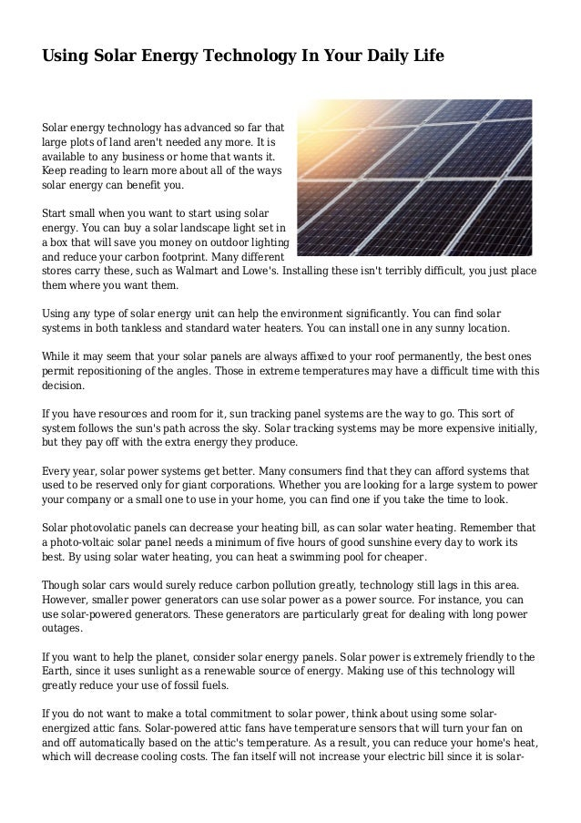 uses of renewable energy in daily life