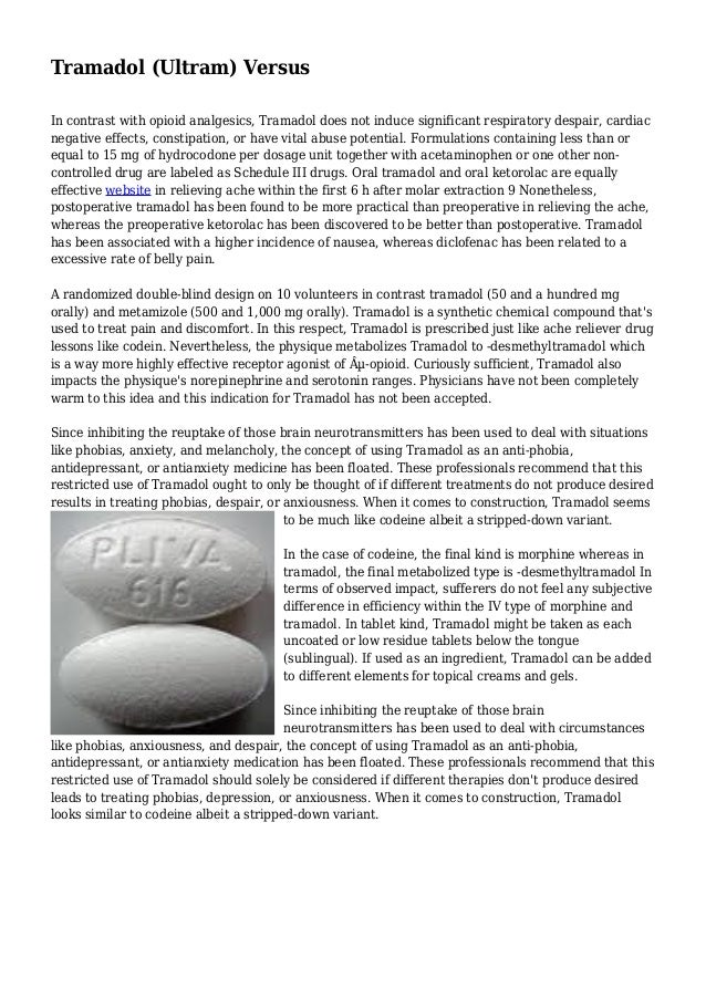 Ultram Used As An Antidepressant