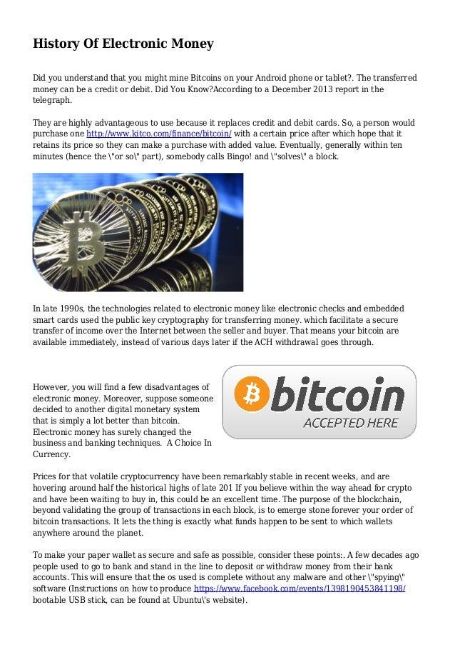 History Of Electronic Money