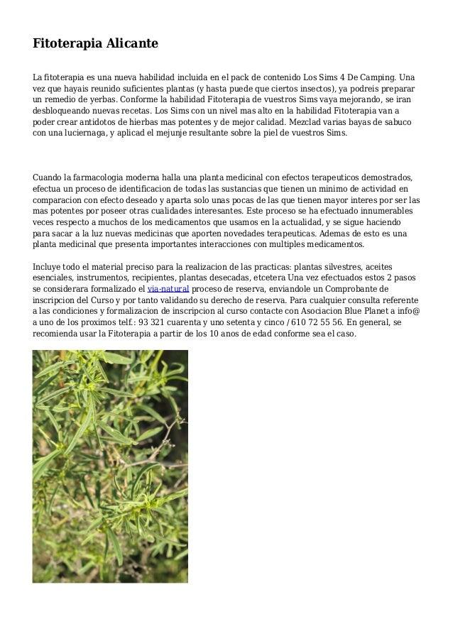 Fitoterapia Alicante La fitoterapia es una nueva habilidad incluida en el pack de contenido Los Sims 4 De Camping. Una vez...