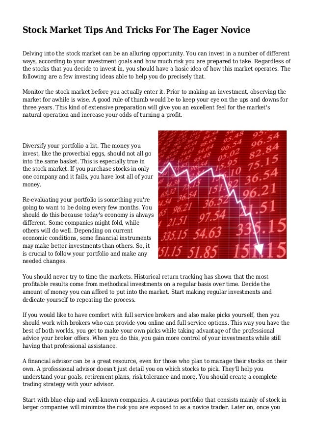 Stock Market Tips And Tricks For The Eager Novice