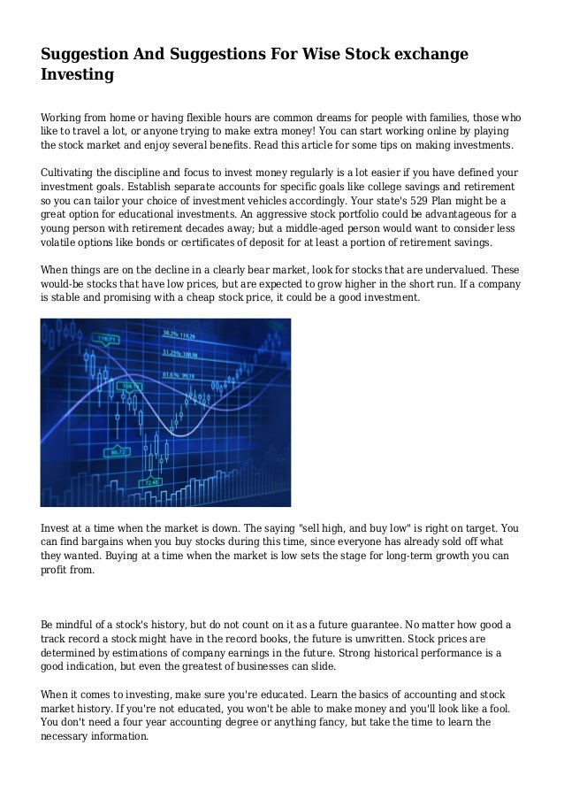 019e7508e8 Suggestion And Suggestions For Wise Stock exchange Investing Working from  home or having flexible hours are ...