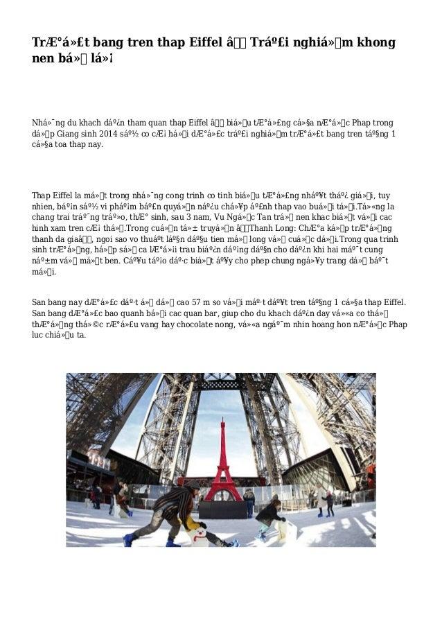 Trượt bang tren thap Eiffel – Trải nghiệm khong nen bỏ lỡ Những du khach dến tham quan thap Eiffel – bi...