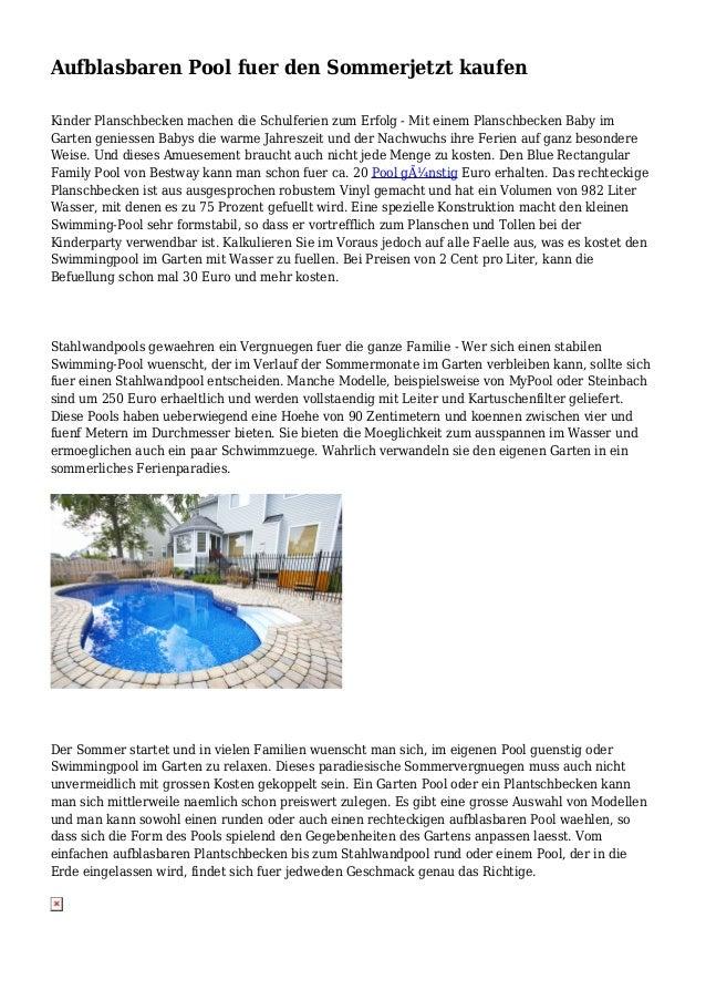Aufblasbaren Pool fuer den Sommerjetzt kaufen Kinder Planschbecken machen die Schulferien zum Erfolg - Mit einem Planschbe...