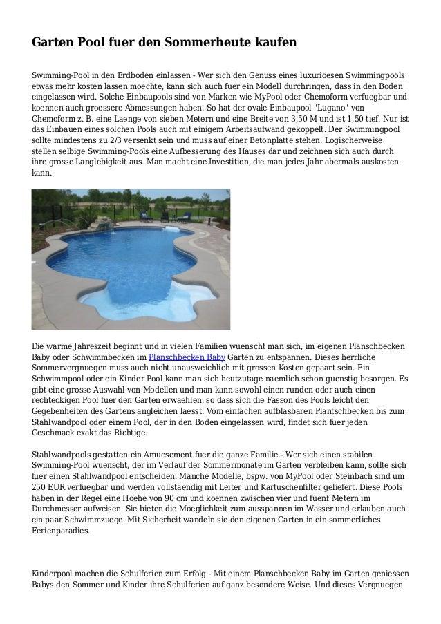 garten pool fuer den sommerheute kaufen. Black Bedroom Furniture Sets. Home Design Ideas