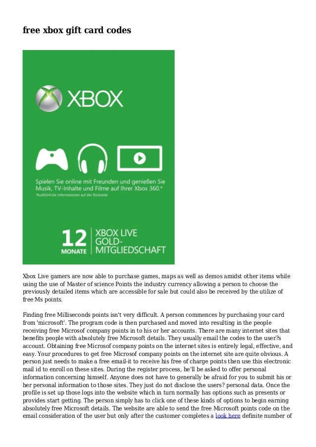Free Xbox Gift Card Codes