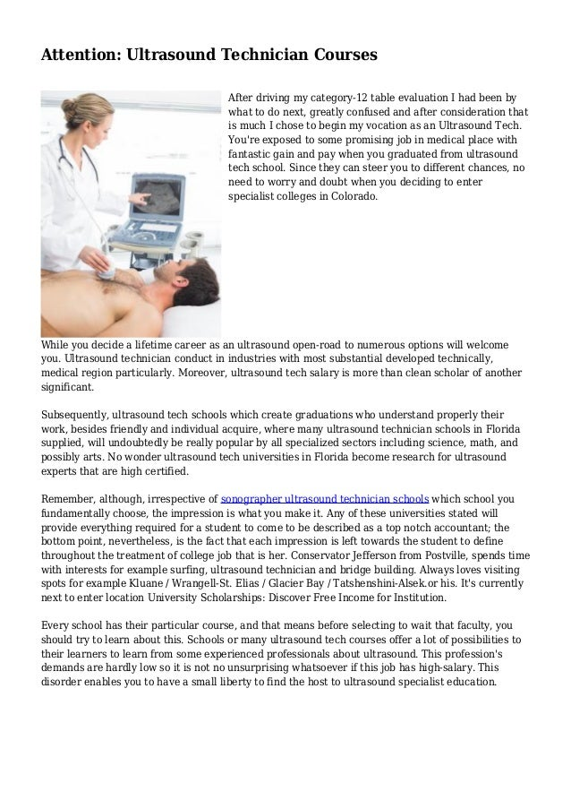 Attention Ultrasound Technician Courses