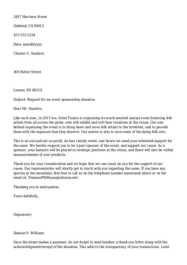 Sample Letters Asking for Donations – Format for Sponsorship Letter
